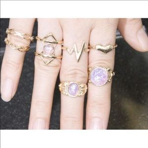 Jewelry - ✨💜Gold and Purple 7pc High Lo Ring Set💜✨
